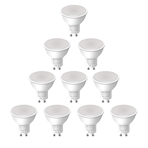 10X Bombilla GU10 LED 4000K Blanca Neutra Wowatt 6W Equivalente a Halógena de 50W 35W 20 Watt 500LM Ahorro de Energía Lámpara LED GU10 Spotlight AC 230V 82Ra Ángulo de Haz de 120° No Regulable