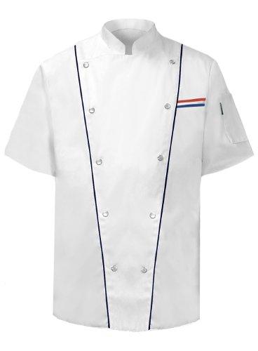 Newchef Fashion Executive Chef Jacket Male Short Sleeves M White