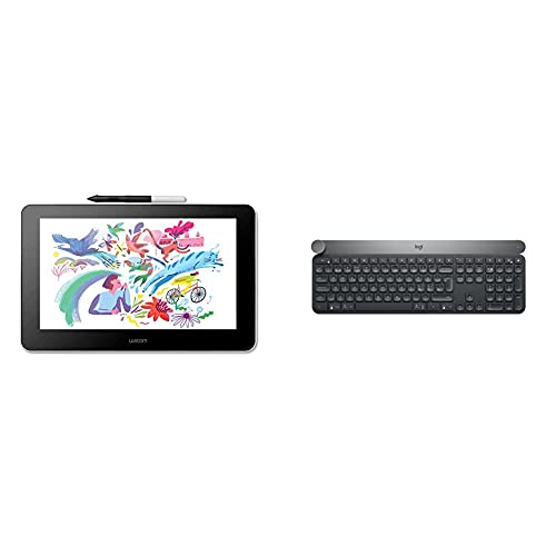 Wacom One Creative Pen Display de 13.3' con Software Incluido para Esbozo y Dibujo en Pantalla, 1920 x 1080 Full HD + Logitech Craft Teclado Inalámbrico, 2.4 GHz/Bluetooth, Negro