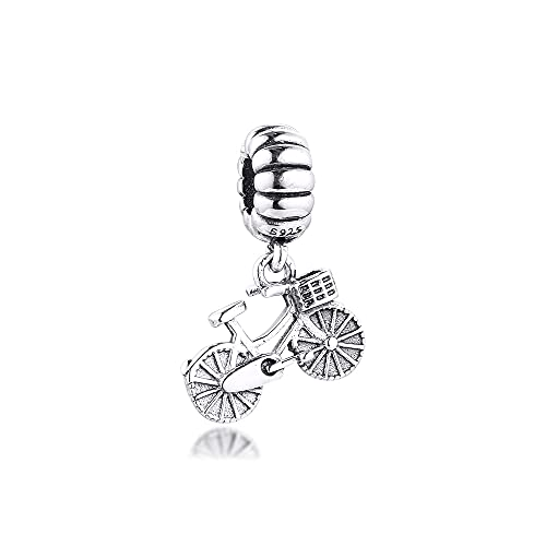 LIIHVYI Pandora Charms para Mujeres Cuentas Plata De Ley 925 Colgante De Bicicleta Compatible con Pulseras Europeos Collars