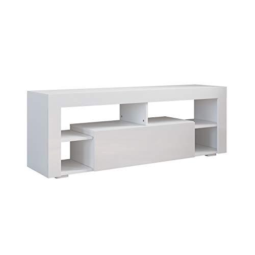 SONNI TV Board Weiss, TV Schrank Hochglanz, mit Klapptür, mit Einlegeböden, Griffloses Design, Zwischenboden Fernsehschrank 140 x 35 x 50.5 cm