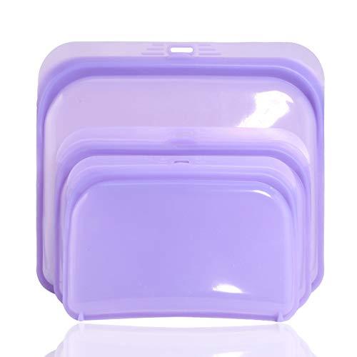 Bolsas reutilizables de silicona para alimentos, reutilizables, aptas para lavavajillas, para alimentos o utensilios (juego de 3 unidades), color lila