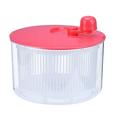 ASY Salad Spinner Vegetables Leaf Lettuce Dryer Drainer Fruit Wash Clean Basket Plastic Durable Manual Lettuce Washer For Fruit Food Kitchen (Color : Pink)