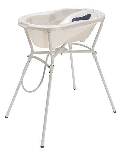 Rotho Babydesign set de bain complet avec baignoire et support pliant, 0-12 mois, Max 25kg, TOP, Blanc perle crème, 21060010001