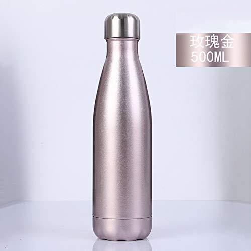 Xiaobing Botella Deportiva de Acero Inoxidable Taza de Regalo Creativa Botella de Moda con Pintura Mate Brillante -B31-500ml-G169