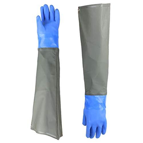 Fischerhandschuhe Teichhandschuhe Lang-Arbeitshandschuhe wasserdichte Teichpflege-Handschuhe Sandstrahlen Industriehandschuhe, Beständig Säuren und Laugen, Blau, Nur Eine Größe
