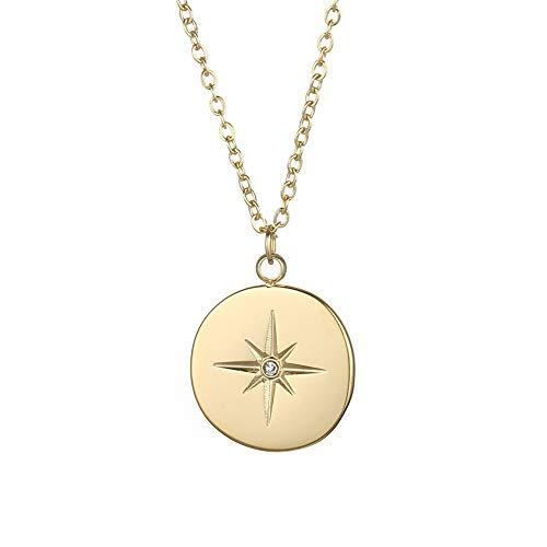 Tribal Spirit Cadena con estrella polar de acero inoxidable y cristal chapado en oro, hipoalergénico, color metal amarillo