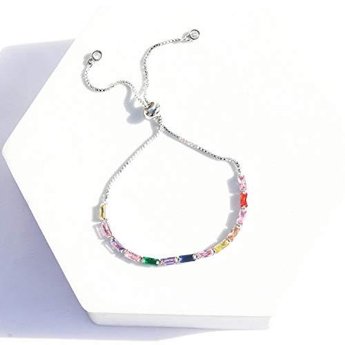 shangwang Golden Baguette Cubic Zirconia Bracelet Women Men Men's Luxury Jewelry Rainbow Tennis Gorgeous Fashion Bracelet Girl Gift M