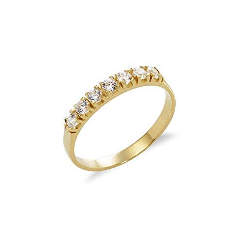 Gioielli di Valenza - Anello Veretta in Oro Giallo 18kt con Zirconi - MBAN312G - 22
