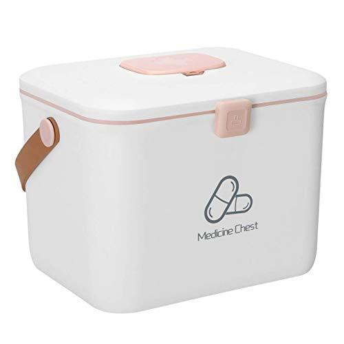 Caja de almacenamiento de medicamentos Contenedor Caja de almacenamiento de botiquín de primeros auxilios portátil Gabinete de medicina familiar Medicina doméstica Píldora Caja de almacenamiento de pí