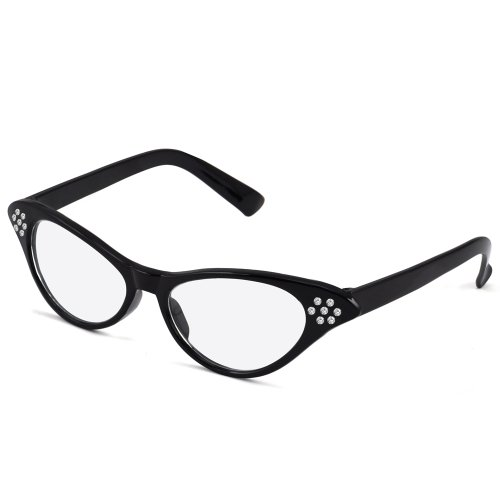 World Pride 50's 60's Grease Cateye Glasses Rhinestone for Fancy Dress (Black)