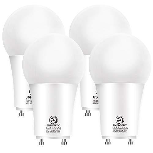 Energetic LED GU24 Base, A19 Shape, 60 Watt Equivalent (8.5W), 5000K Daylight, 800 Lumens, Non-Dimmable, 2 Pin LED Light Bulb, UL Listed, 4 Pack