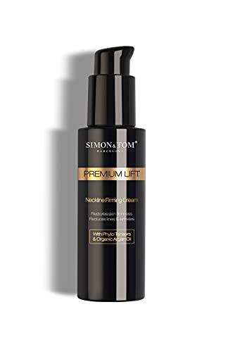 SIMON & TOM - Premium Lift Neckline Firming Cream - Straffende Hals Feuchtigkeitscreme - Sofortige Lifting Wirkung - Langfristig glattere Haut - Mit Pytho Sensoren & Bio Arganöl - Vegan / 100ml.
