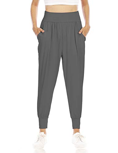 Zamowoty Plus Size Pants for Women, High Waisted Yoga Pant with Pockets Elastic Waistband Athletic Leggings Ladies Comfort Sports Fitness Gym Sweatpants Youth Stretch Lounge Dark Gray XL
