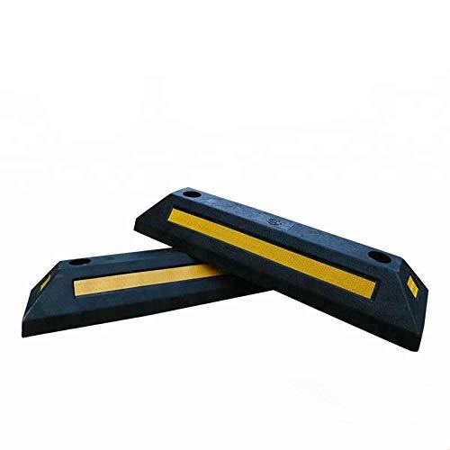 KIRNER® Gummi Radstopp Parkplatzbegrenzung für Parkplätze und Garagen, Farbe Schwarz-Gelb, Abmessungen 55x15x9 cm (2er Pack)