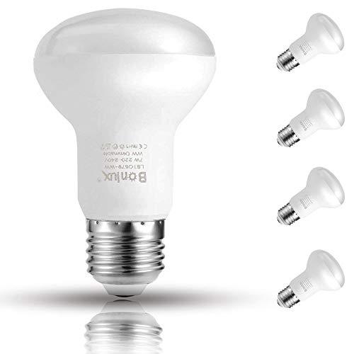 Bonlux R63 E27 LED-Strahler, dimmbar, Edison-Schraube, 7 W, kaltweiß, 6000 K, 60 W, Ersatz für ES E27 R63 LED-Reflektorlampe, energiesparend, 4 Stück