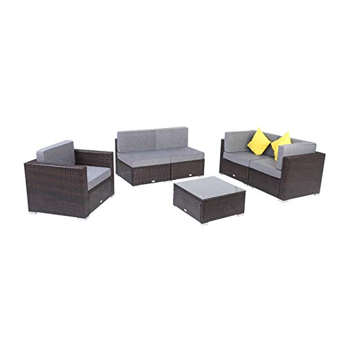 6 Pieces Rattan Corner Sofa Set Garden Middle Sofa Outdoor Patio Furniture with Tea Table Kit for Home Living Room Office