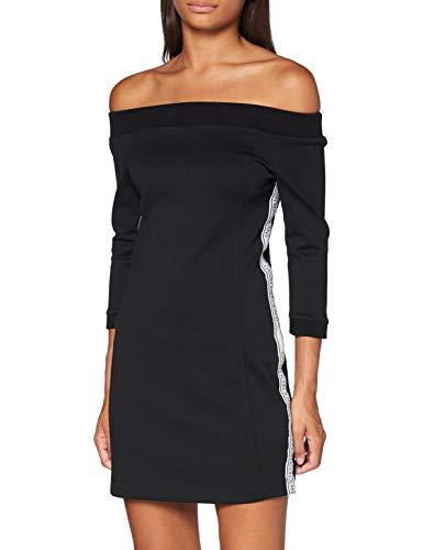 Calvin Klein Jeans Damen Off The Shoulder Milano Dress Kleid, Schwarz, M