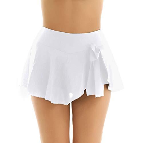 FEESHOW Frauen Dehnbare Minirock Kurze Tanzrock Skaterrock Faltenrock mit Unterhosen Tanzkostüm Dancewear Latin Tango Gymnastik Performance Weiß X-Large