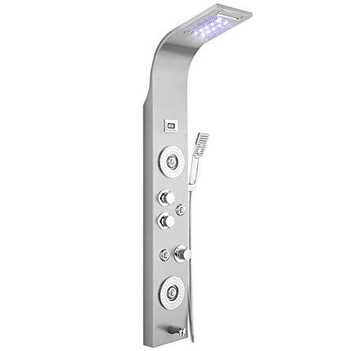 Edelstahl Duschpaneel,Duscharmatur mit Thermostat LED Badewannen 5 Funktionen Duschsystem Regendusche und Handbrause Wasserfall Badezimmer mit wandhalterung Kopfbrause