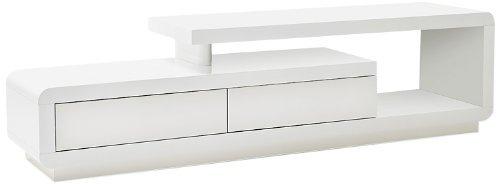Robas Lund Lowboard Weiß Hochglanz lackiert, TV Möbel mit Design