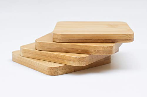 Bamboo Coasters 4-Pack Set with Holder - Classic Design | Stylish and Elegant | Great Gift Idea