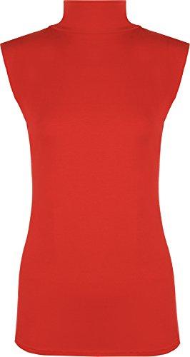 Damen Polo-Kragen, einfarbig, Stretch, ärmellos, figurbetont, Größen 34-40 Gr. 50-52, rot
