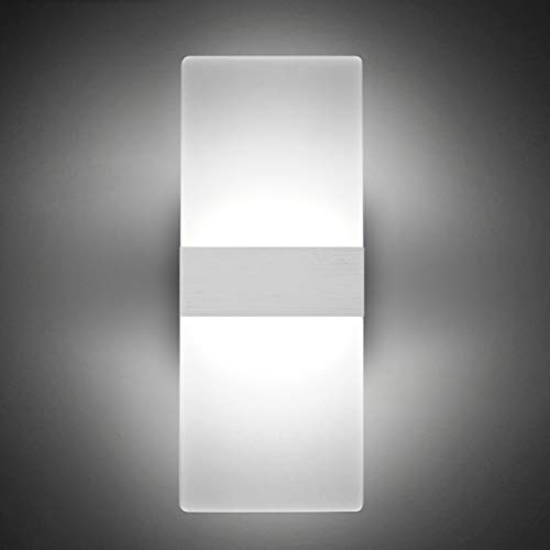 Modern LED Acrylic Wall Sconce 12W Cool White 6000K Up Down Lamp for Bedroom Corridor Stairs Bathroom Indoor Lighting Fixture Lamps Home Room Decor Not Dimmable No Plug(1 Pack)