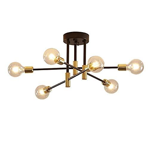 DAXGD lámparas de Techo Retro Negras E27, Lámparas de Techo industriales, Luces de Techo de ángulo Ajustable de 180° para lámpara de Sala de Estar del Dormitorio, Diámetro 83cm, Bombilla no incluida