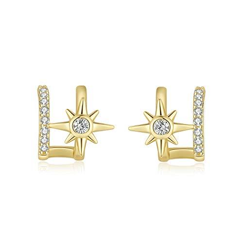 Pendientes de Botón Estrella Cristal Pendientes Oro Mujer