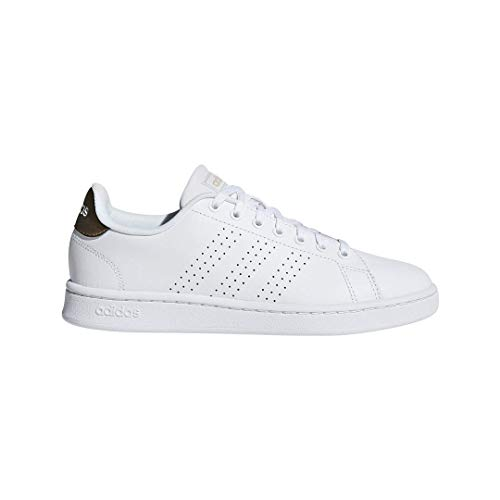 adidas Women's Cloudfoam Advantage Cl Sneaker, White/White/Copper Metallic, covid 19 (Adidas Superstar Classic coronavirus)