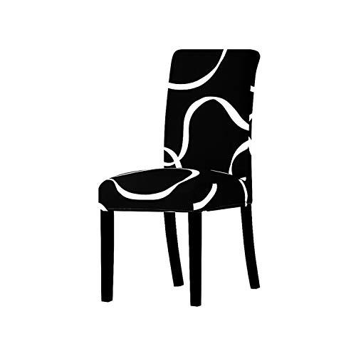 Nihaoma Druck Abdeckungen Universalgröße Stuhl-Abdeckung Sitz Hussen Schutz Sitz Slipcovers für Hotel-Bankett Startseite Hochzeit Dekoration,Schwarz-weiße Linie,Universalgröße