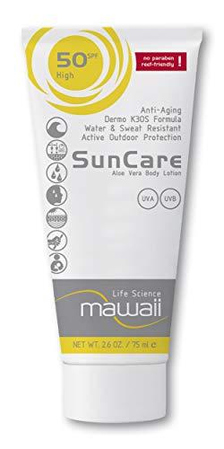 mawaii SunCare SPF 50 - wasserfeste und schweissresistente Sonnencreme, reef-friendly, ideal für Wassersport und Outdoor-Sport, Anti-Aging Sonnenschutz, Sonnenmilch ohne Parabene (1 x 75ml)