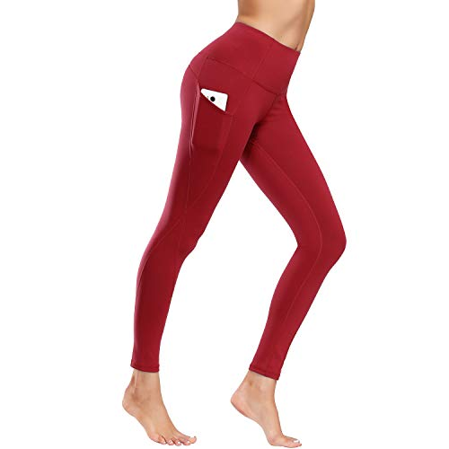 WateLves Damen Leggings Lange Yogahose Jogginghose Sport Fitness Hose Laufhose Training Strumpfhosen Gürtel Handytasche(ck.Weinrot,XL