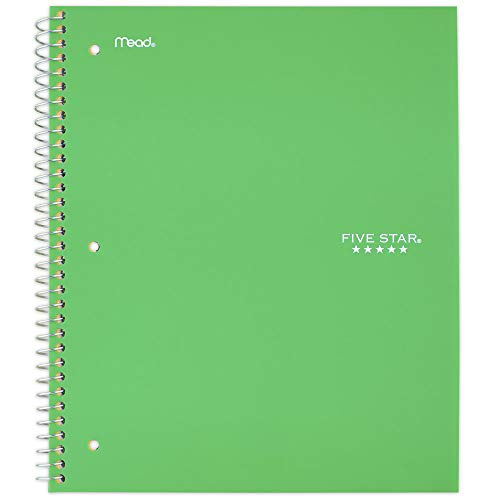 """Five Star Spiral Notebook, 5 Subject, College Ruled Paper, 200 Sheets, 11"""" x 8-1/2"""", School, Wired, Green (72079)"""