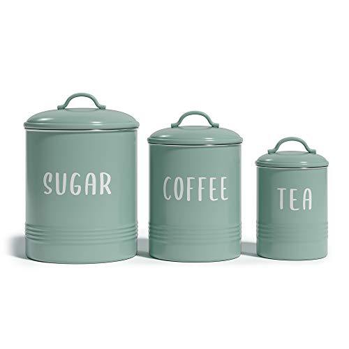 """Barnyard Designs Set of 3 Decorative Nesting Kitchen Canisters, Airtight Containers with Lid, Rustic Farmhouse Sugar, Coffee, and Tea Storage for Kitchen Counter, Mint, Largest Measures 6.25"""" x 7"""""""