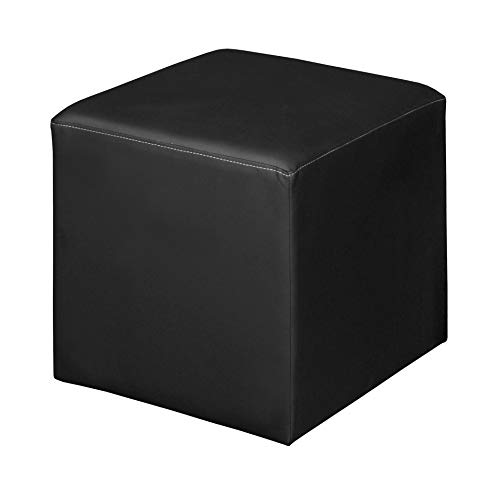 Unknown1 Jute Square Ottoman- Black Modern Contemporary Leather Armless