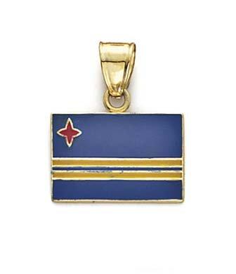 14ct Geel Goud Emaille Aruba Vlag Hanger