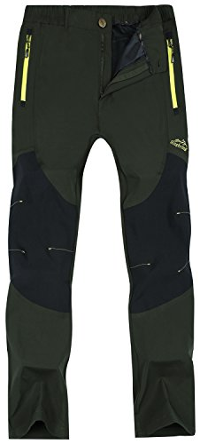 Singbring Men's Outdoor Lightweight Quick Dry Waterproof Hiking Mountain Pants X-Large AGreen(01B)