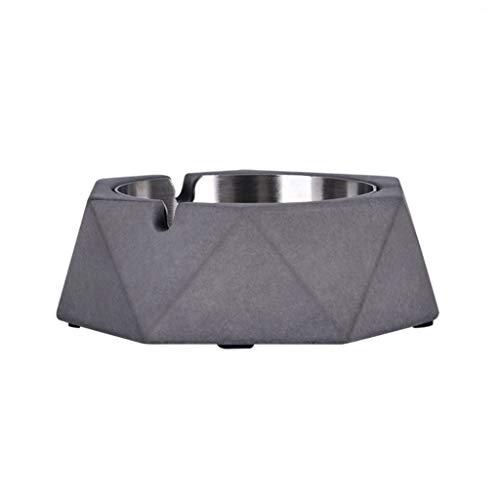 HEG Cemento Cenicero Cenicero de Acero Inoxidable geométrica for el hogar Sala de Estar Minimalista Creativo Estilo Industrial Ceniceros (Color : A)