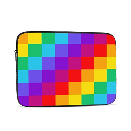 Rainbow Checkerboard Laptop Sleeve 15 inch, Shock Resistant Notebook Briefcase, Computer Protective Bag, Tablet Carrying Case for MacBook Pro/MacBook Air/Asus/Dell/Lenovo/Hp/Samsung/Sony
