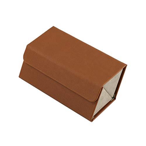Saicowordist Organizador de almacenamiento de gafas de sol, funda plegable de piel sintética con compartimentos, cajas de exhibición multifunción para viajes en el hogar (cubo marrón)