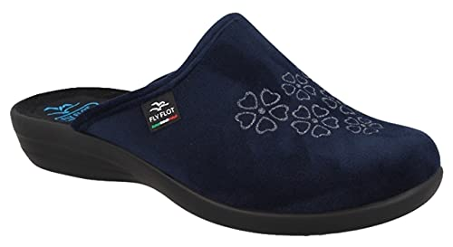 Fly Flot P3T79 PD Blu Ciabatte Pantofole Donna Made in Italy, Sottopiede ANATOMICO, Zeppa 2,5 CM, ANTISHOCK, AUTOMODELLANTE, 100% ENERGIA RINNOVABILE