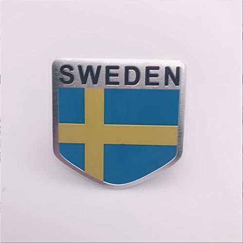 HHF - Adesivi adesivi per auto, 10 pezzi, con bandiera nazionale gialla, blu, in alluminio, con stemma cromato, per auto universali (colore: scudo)