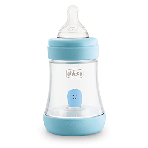 Chicco Perfect 5 Biberones Anticólicos con Tetina de Silicona de Flujo Lento para 0+ Meses, Biofuncional con Sistema Intuiflow, Color Azul, 150 ml