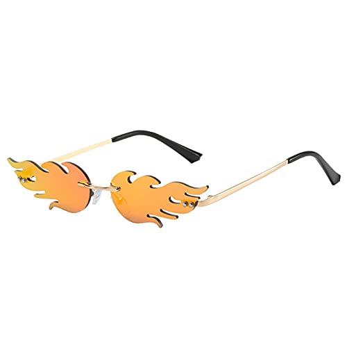Flamme Sonnenbrille Metall Rahmenlose Sonnenbrille Moderne Sonnenbrille Neuheit PartyBrillen Leicht/High-End/Persönlichkeit für Strand,Abschlussball, Feste, Alltag, Halloween, Maskerade, Karneval