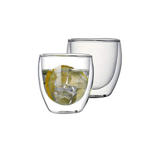 Juego De Tazas De Café De Vidrio Resistentes Al Calor De 2/6 Piezas Para Beber Té Taza De Café Con Leche Espresso (Color : 250ml Set of 2)