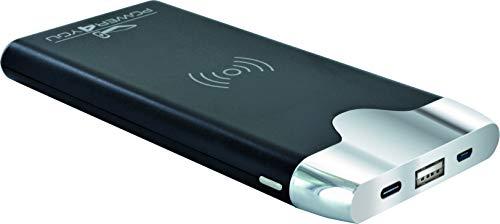 SCHWAIGER -LPBW800 531- Powerbank 8000mAh con función de carga Qi | 1 puerto USB, 1 conector USB-C | batería externa | Mini Powerbank | para iPhone, iPad, Samsung, Huawei, Android Smartphones Tablets