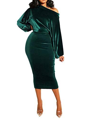 ECHOINE Womens Velvet Long Sleeve Bodycon Dress - Sexy Off Shoulder Wrap Cocktail Dress for Club Party Wedding Guest
