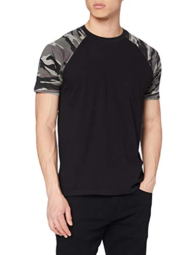 Urban Classics Raglan Contrast tee Camiseta, Multicolor (blk/darkcamo 865), M para Hombre